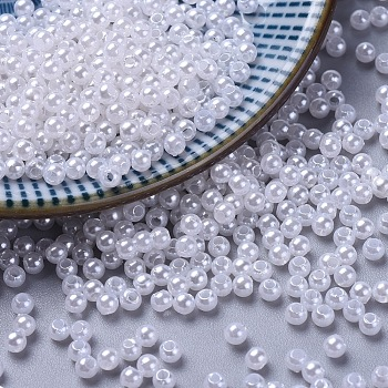 Imitated Pearl Acrylic Beads, Round, White, 3mm, Hole: 1mm; about 35000pcs/500g