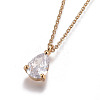 Brass Chain Pendants NecklacesNJEW-JN02383-02-2