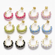 Brass Stud Earrings EJEW-S209-10