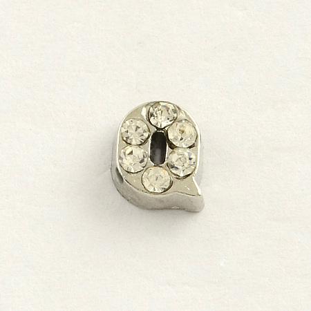 Platinum Tone Letter Alloy Rhinestone CabochonsX-ALRI-R248-Q-1