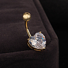 18K Gold Plated Body Jewelry Heart Cubic Zirconia Brass Navel Ring Belly RingsAJEW-EE0001-01A-2