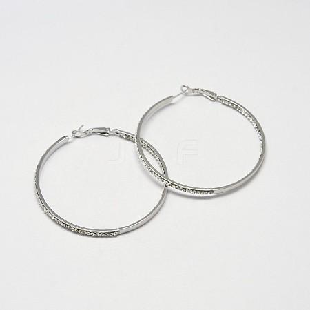 Simple Ring Alloy Grade A Rhinestone Hoop EarringsX-EJEW-N026-09P-A-1