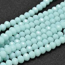 Dyed Faceted Rondelle Glass Beads Strands X-GLAA-I033-6mm-09