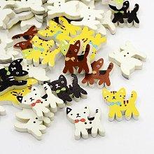Cat Printed Wooden Buttons X-BUTT-N001-30