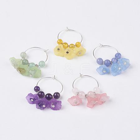 Natural Gemstone Wine Glass CharmsAJEW-JO00166-1