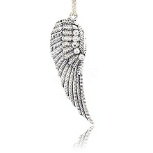 Antique Silver Plated Alloy Wing Big Pendants ALRI-N019-04
