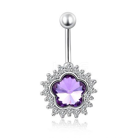 Piercing Jewelry PlatinumPlated Flower Brass Cubic Zirconia Navel Ring Belly Rings AJEW-EE0001-88C-1