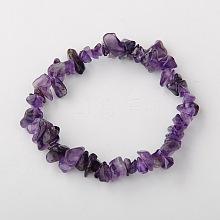 Valentines Day for Lovers Ideas Amethyst Chips Stretch Bracelets BJEW-JB01308-03