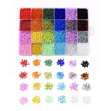 24 Colors 8/0 Glass Seed Beads SEED-X0052-02-3mm