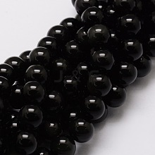 Natural Obsidian Round Beads Strands G-G735-19-6mm