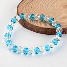 Faceted Abacus Glass Beaded Stretch Bracelets BJEW-J172-06