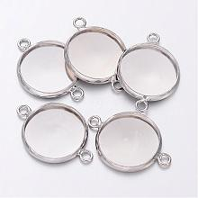 Platinum Plated Brass Bezel Connector Link Settings for Cameo Cabochons X-KK-B537-N
