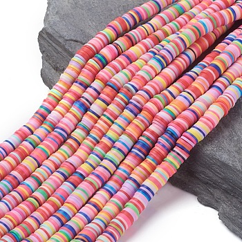 Handmade Polymer Clay Beads, Disc/Flat Round, Heishi Beads, Mixed Color, 8x0.5~1mm, Hole: 2mm; about 380~400pcs/strand, 17.7