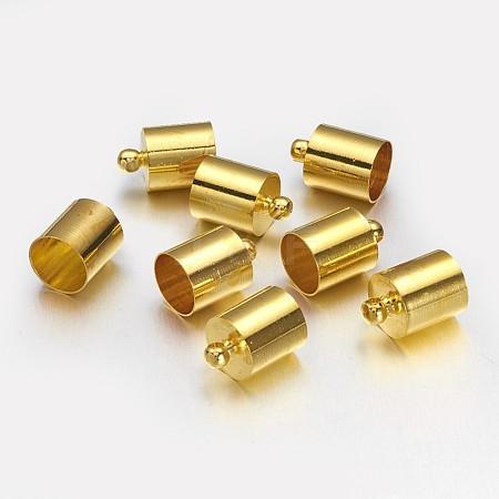 Brass Golden Cord End CapsX-KK-D214-12x8mm-G-1